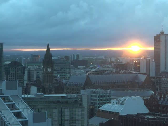 Manchester skyline.