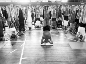 BKS Iyengar in a Headstand.