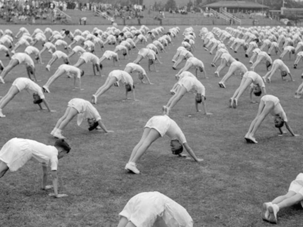 Vintage picture of yoga class