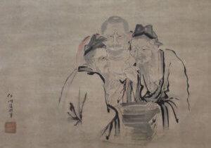 Confucius, Buddha and Loa-Tse taste vinegar